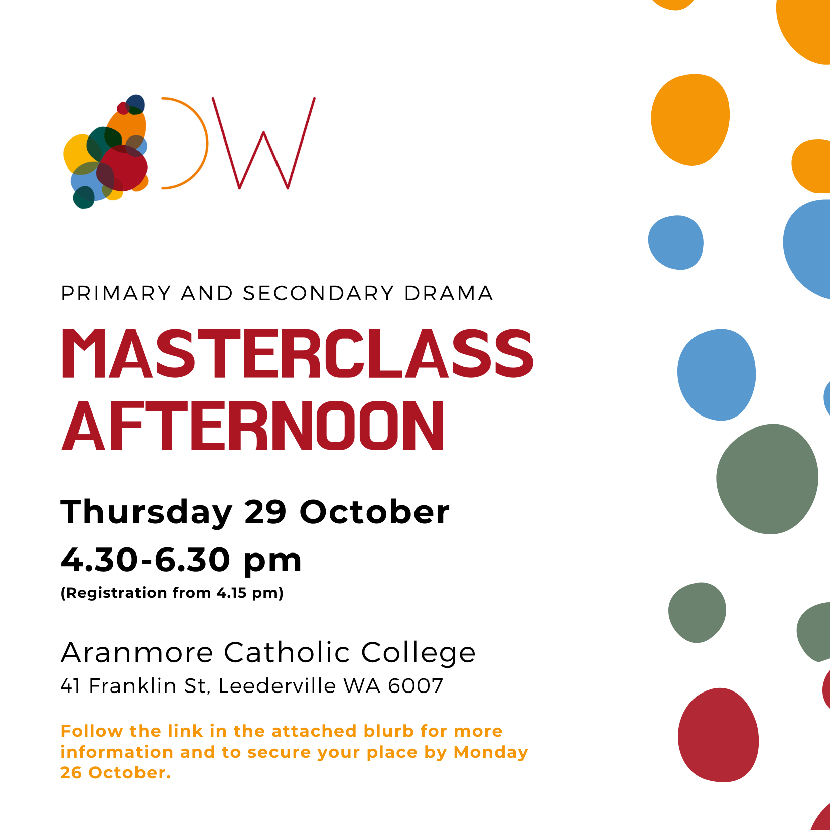 DramaWest Masterclass Afternoon Invite